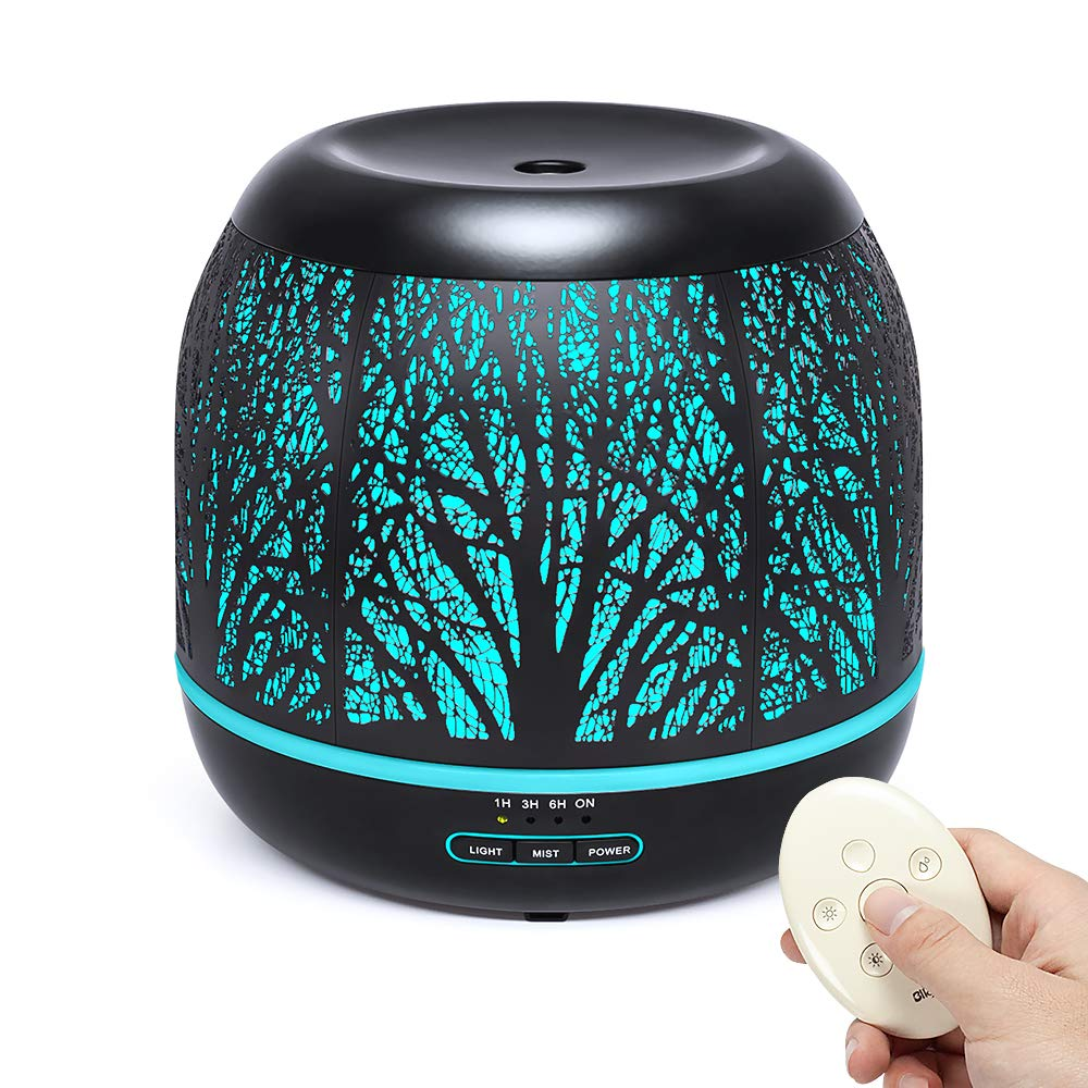 Bligli 500ml Essential Oil Diffuser Humidifiers Remote Control Aromatherapy Diffusers Room Decor Running 10 Hours with 7 Color LED Lights, Water-less Auto Shut-Off & 4 Time Modes by Bligli