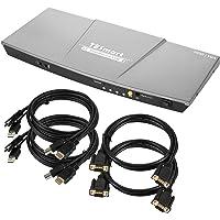 TESmart Dual Monitor 2x2 HDMI+VGA KVM Switch 3640x2160@30Hz 4K Ultra HD 2 PC 2 Monitor with Extra USB 2.0 Port&L/R Audio…