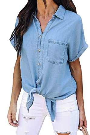 022a16129a Meilidress Womens Tie Knot Front Button Down Denim Shirts Vintage Short  Sleeve Tunic Lapel Jeans Tops at Amazon Women s Clothing store
