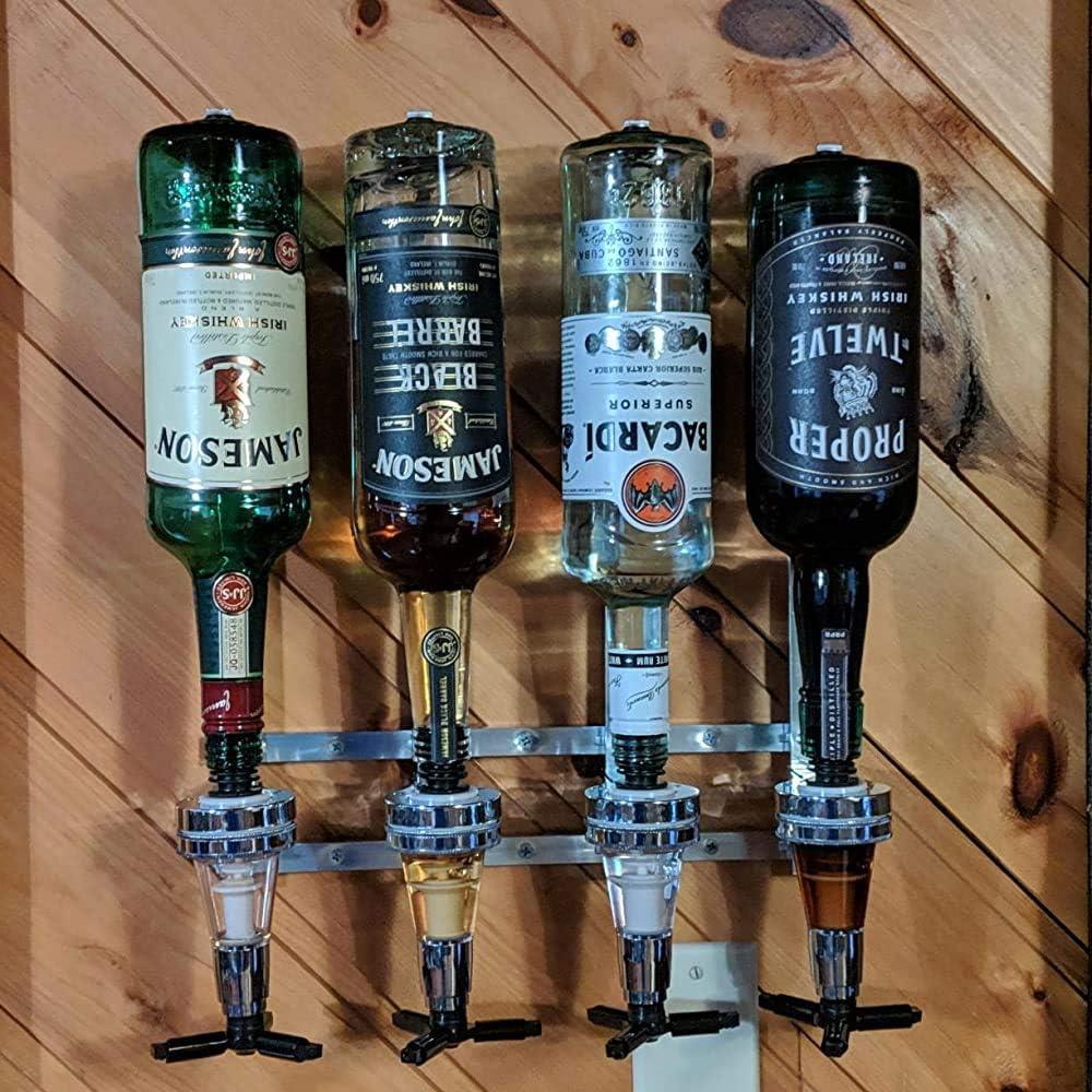 Liquor Dispenser Bar Butler, 4 Bottle Wall Mounted Bottle Beverage Stand Wall Bracket Drink Wine Dispenser Solo Optic Spirit Drinkware Set