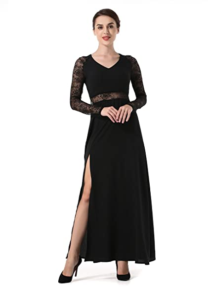 Womens Dresses Lace V Neck Sexy Long Sleeve Maxi Dress Slit Semi