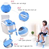 Saving Basket Baby Toddler Potty Training Toilet Ladder Seat Steps Assistant Potty For Toddler Child Toilet Trainer (Blue)