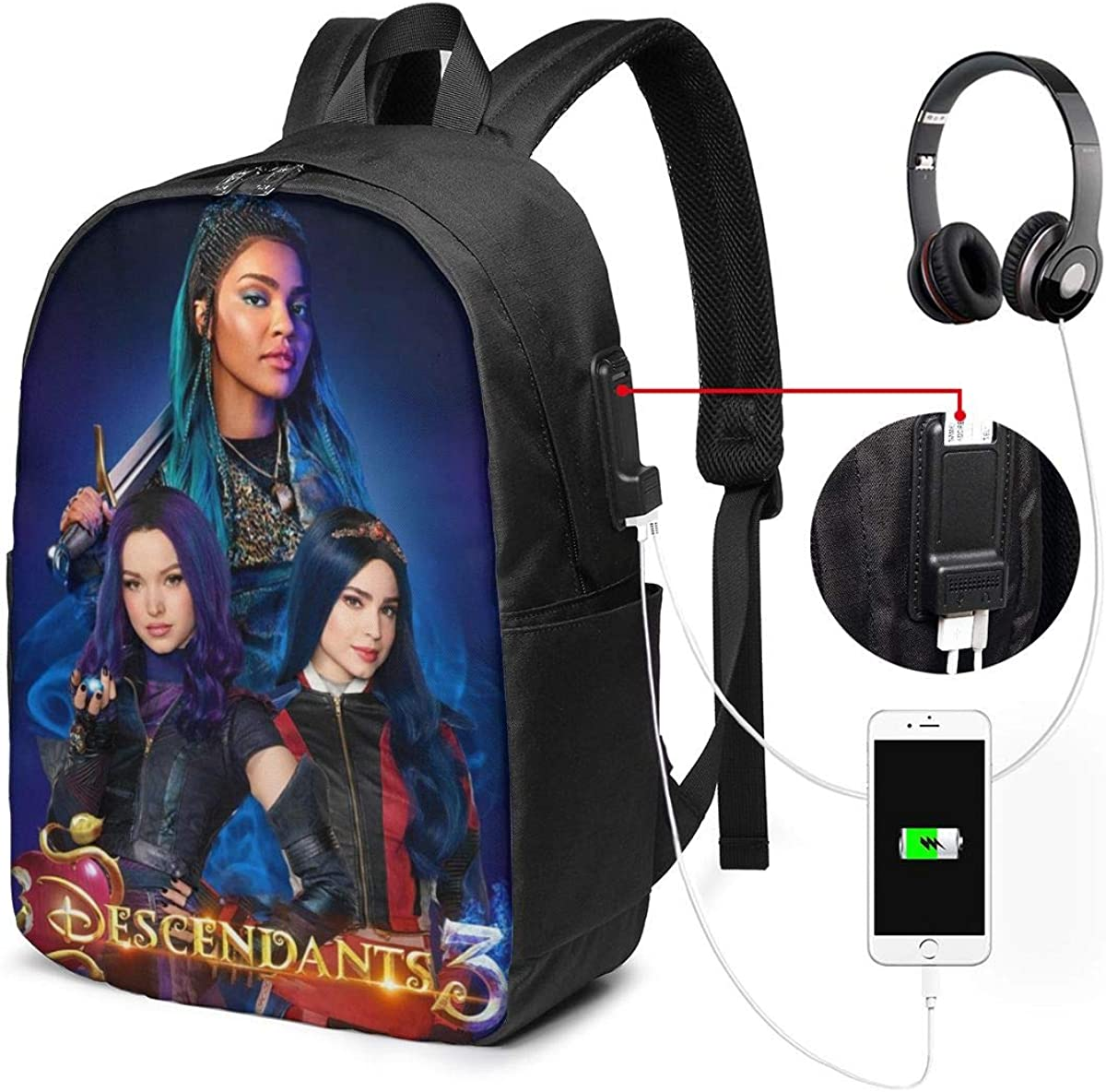 Chargers Phones SD Cards USB YiwuYshi Descendants 3 Harry Universal Cable Storage Bag for Travel and Household Goods Storage for Cables