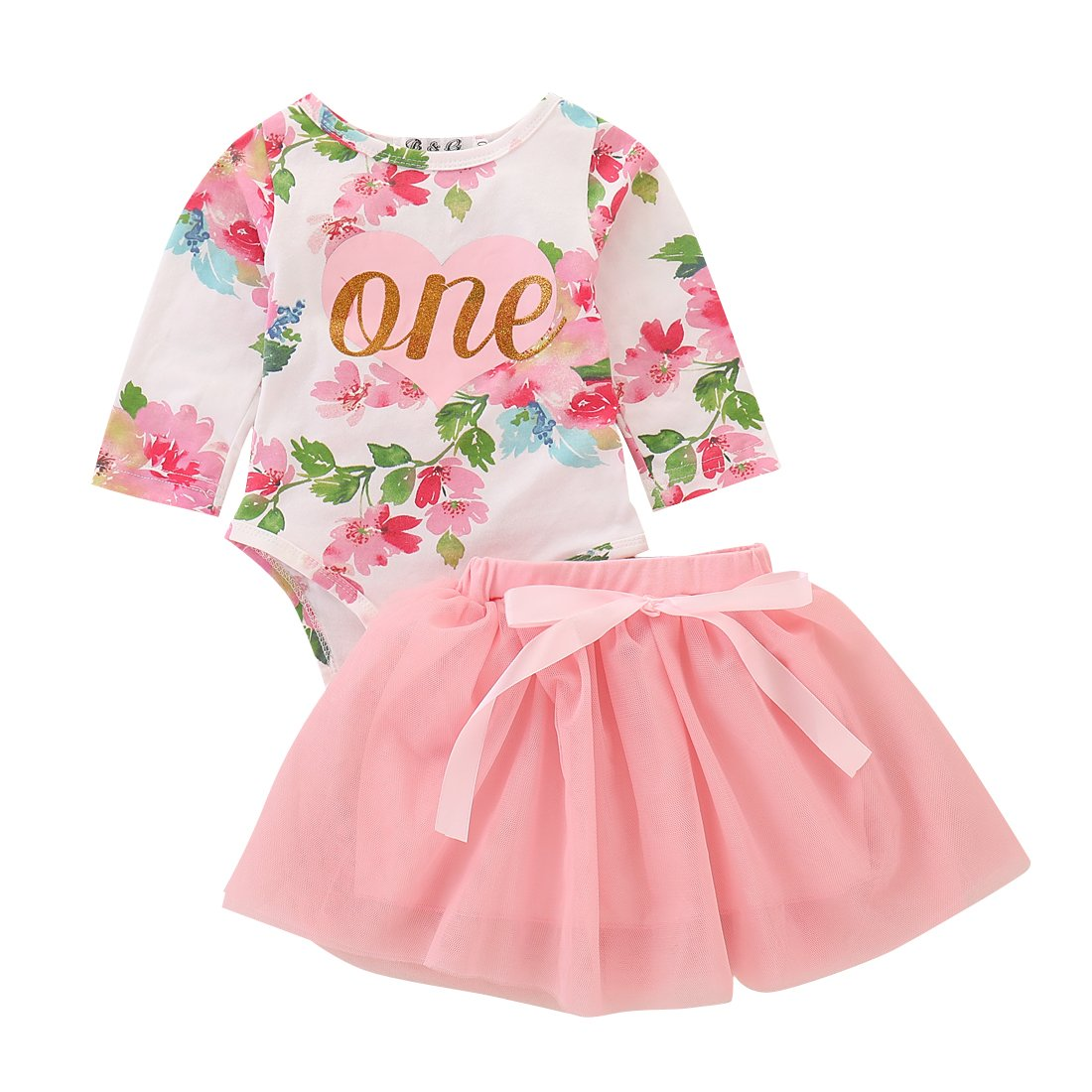 2Pcs Set Baby Girls' 1st Birthday Tutu Clothes Outfit Dress Long Sleeve Floral Romper Top+ Lace Skirt (Pink#2, 18-24 Months)