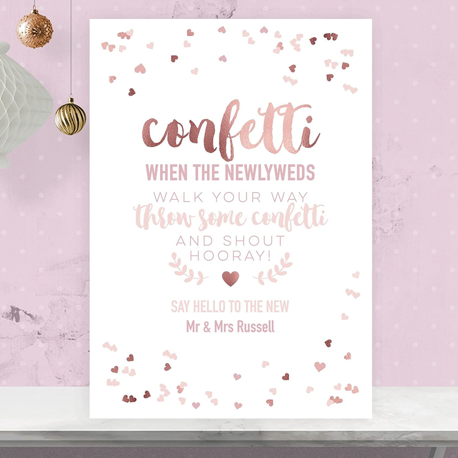 Personalised Confetti Wedding Sign In Rose Gold Effect and Blush Pink RGP11