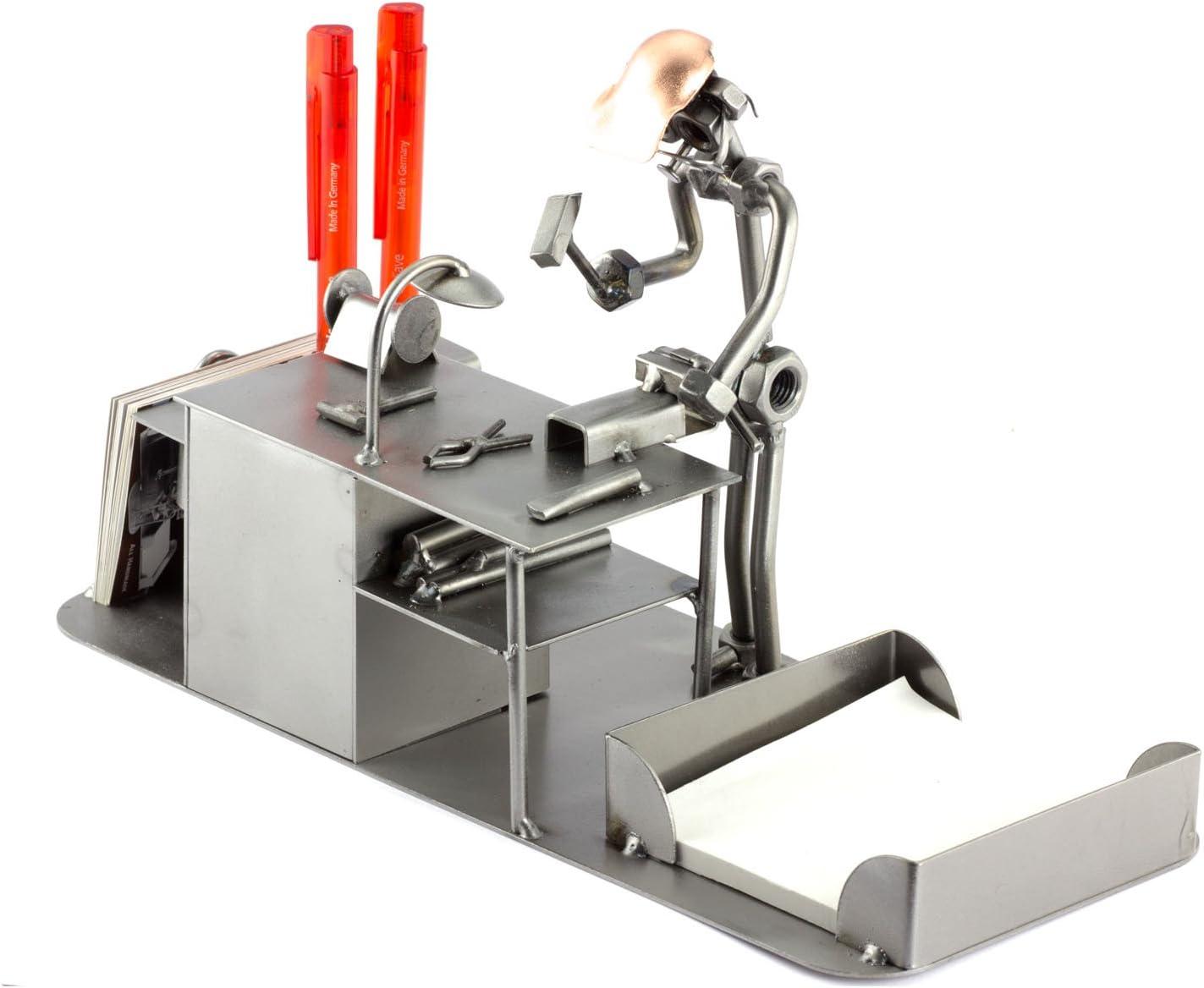 Steelman24 I Figurine en m/étal Couvreur avec Bureau I Made in Germany I Id/ées Cadeaux I Sculpture d/'Acier I Hommes de m/étal