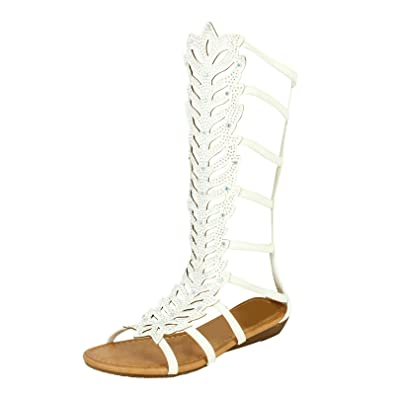 0ebf8fa41a2e Ladies Women Flat Cut Out Strappy Diamante Knee High Open Toe Gladiator  Sandals Boots Shoes (