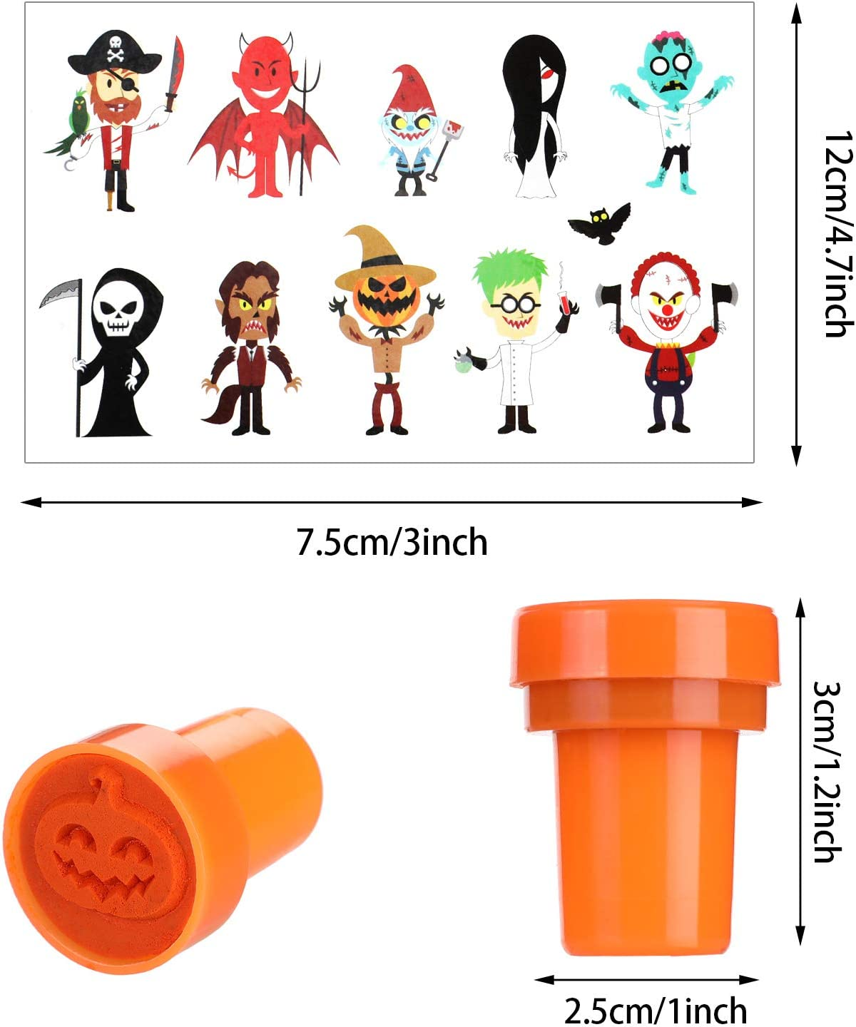 50 Pieces Halloween Stampers with 12 Sheets Halloween Stickers for Kids Halloween Party Supplies Game Prizes Halloween Goodies Bags Decoration Supplies Outus 200 Pieces Halloween Party Accessories