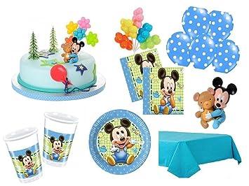 Xxl Party Deko Set Mit Torten Deko 1 Geburtstag Mickey Baby