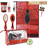 Kit Neceser de viaje Spider-Man para viaje o para el colegio/Neceser de viaje Spiderman Licenciado, Medidas 230x155x80 mm Color Rojo