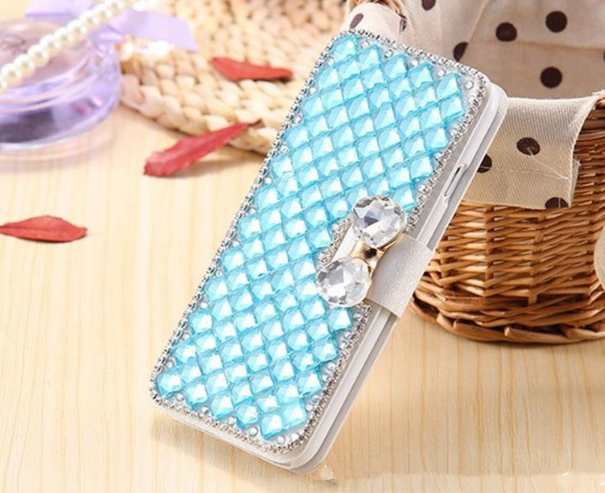 Samsung Galaxy J7 Wallet Case,Inspirationc and Made Luxury 3D Bling Crystal Rhinestone Leather Purse Flip Card Pouch Stand Cover Case for Samsung Galaxy J7 2016--Light Blue by Inspirationc (Image #2)