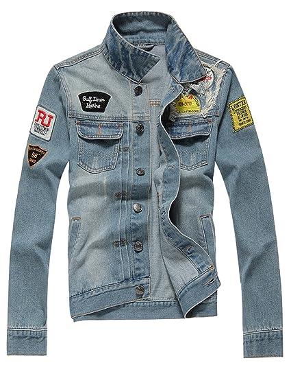 ZongSen Giacca di Jeans Ripped Denim Jacket Casual Giacchetta Uomo Denim  Blu XL b5061a9fd1c