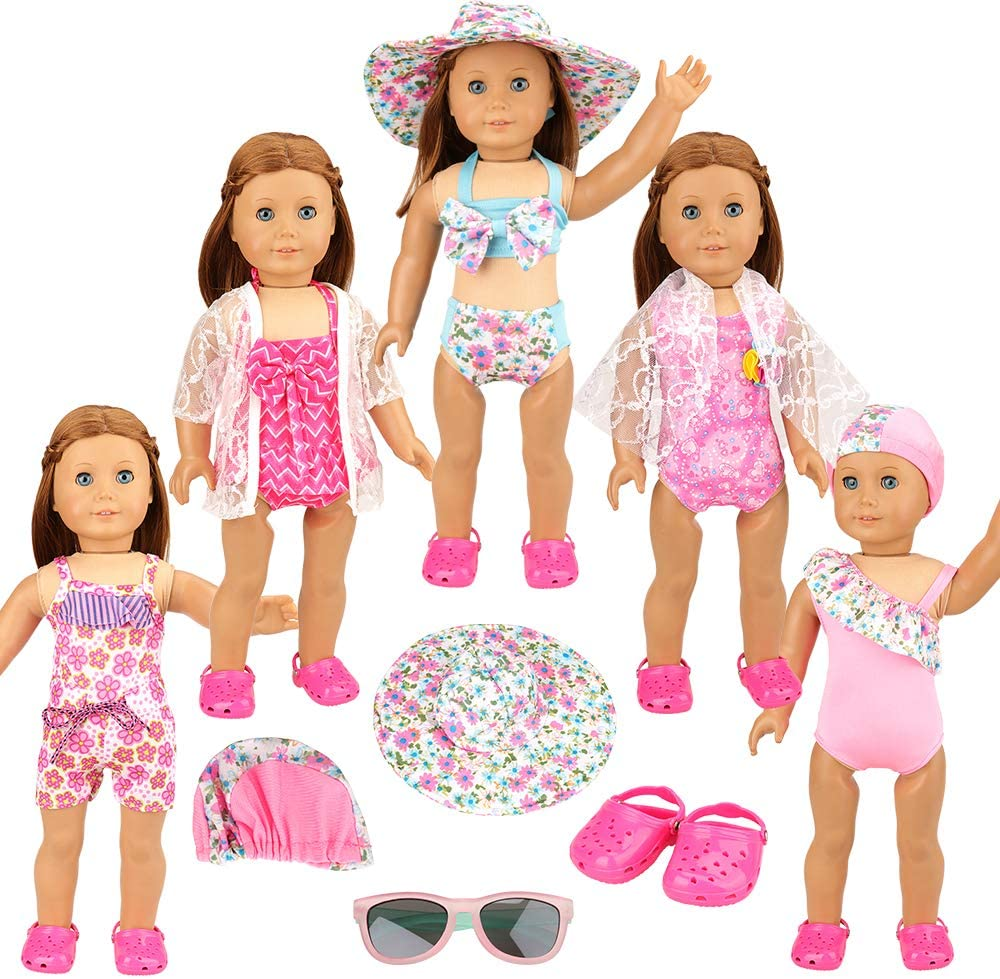 BARWA 5 Sets 18 Inch Swimming Clothes with 1 Pair Sunglasses and 1 Pair Beach Shoes Compatible with American Dolls 18 Inch Dolls