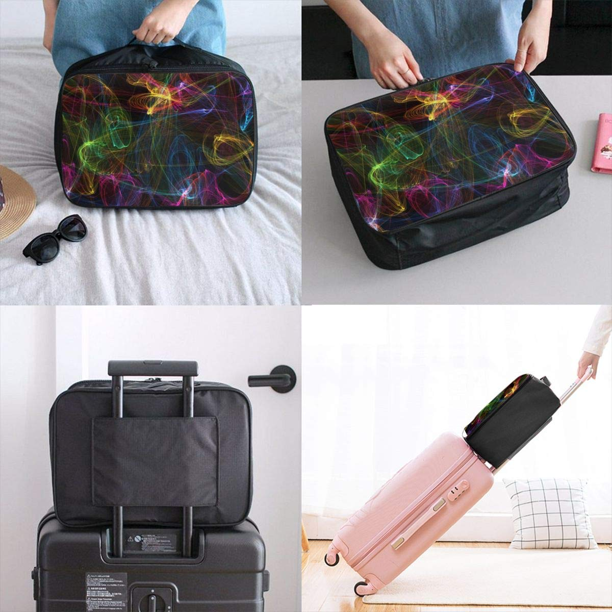 Glowing Creative Texture Art Travel Lightweight Waterproof Foldable Storage Carry Luggage Large Capacity Portable Luggage Bag Duffel Bag