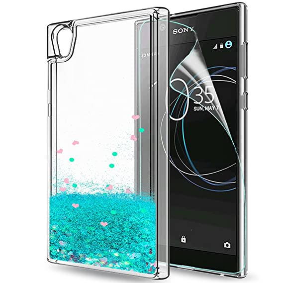 Funda Sony Xperia L1 Purpurina Carcasa con HD Protectores de Pantalla, LeYi Brillante Liquida Cristal Transparente TPU Ultrafina Silicona Fundas Case ...