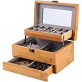 Bamboo Jewelry Box Organizer for women Watch Storage 3 Layers Jewelry Organizer Mirrored Storage Display Case Gift for Mom Gi