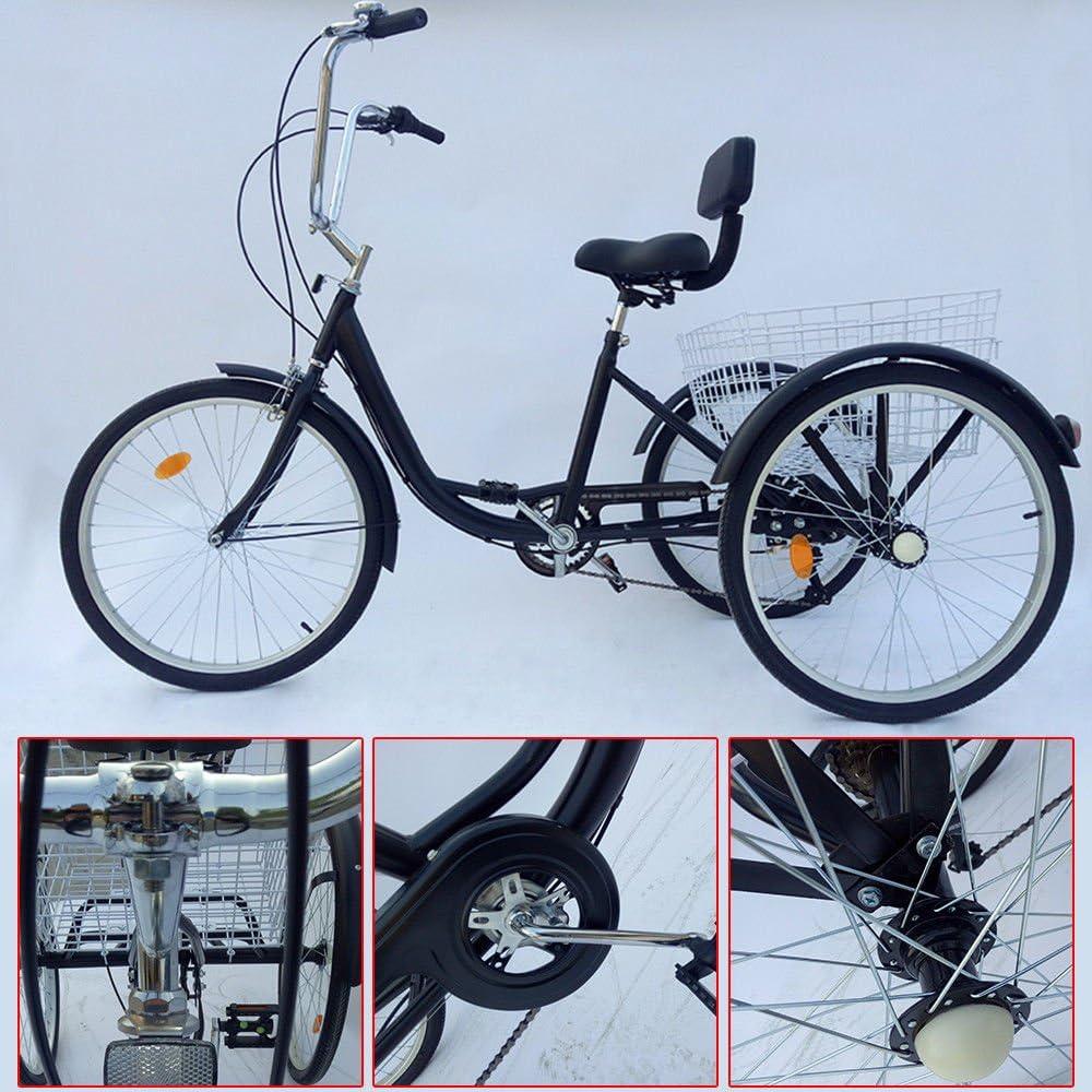 z & y 3 – Triciclo para adultos 24 adultos Triciclo 6 marchas bicicleta 2 Color, Negro: Amazon.es: Deportes y aire libre
