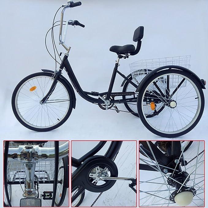 Z&Y 3 - Triciclo para Adultos 24 Adultos Triciclo 6 Marchas Bicicleta 2 Color, Negro: Amazon.es: Deportes y aire libre