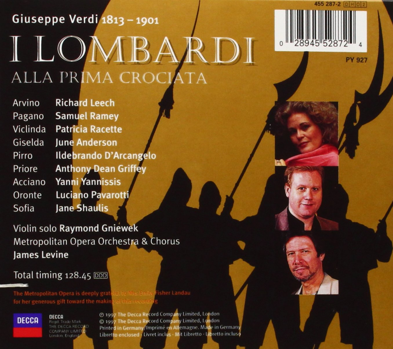 Verdi - I Lombardi / Anderson, Leech, Pavarotti, Ramey; Levine