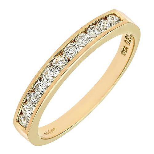 Naava 9ct Yellow Gold Diamond Channel Set Eternity Ring Amazon