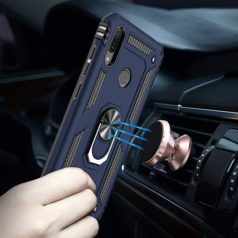 Funda Huawei Y7 2019,Caja El Soporte Incorporado A Prueba de Golpes Anti-Ara/ñazos Armadura Proteccion Cover Case para Huawei Y7 2019 Azul Oscuro