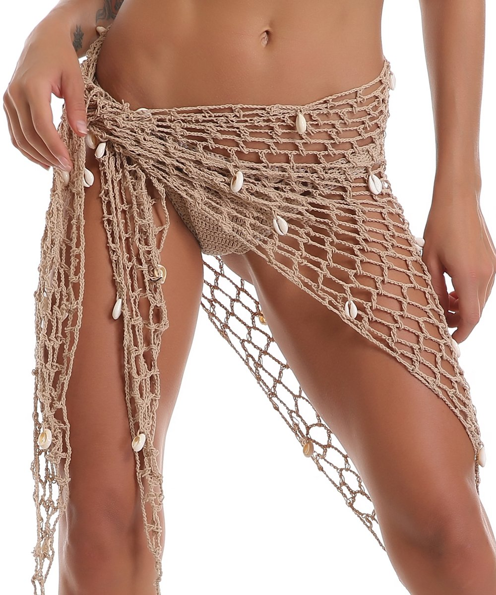 BeadChica Women Crochet Beach Cover up Fishnet Sarong Wrap With Shells Pailletes by BeadChica (Image #2)