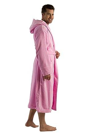terry cotton adult bathrobe pink sm - Mens Bathrobes