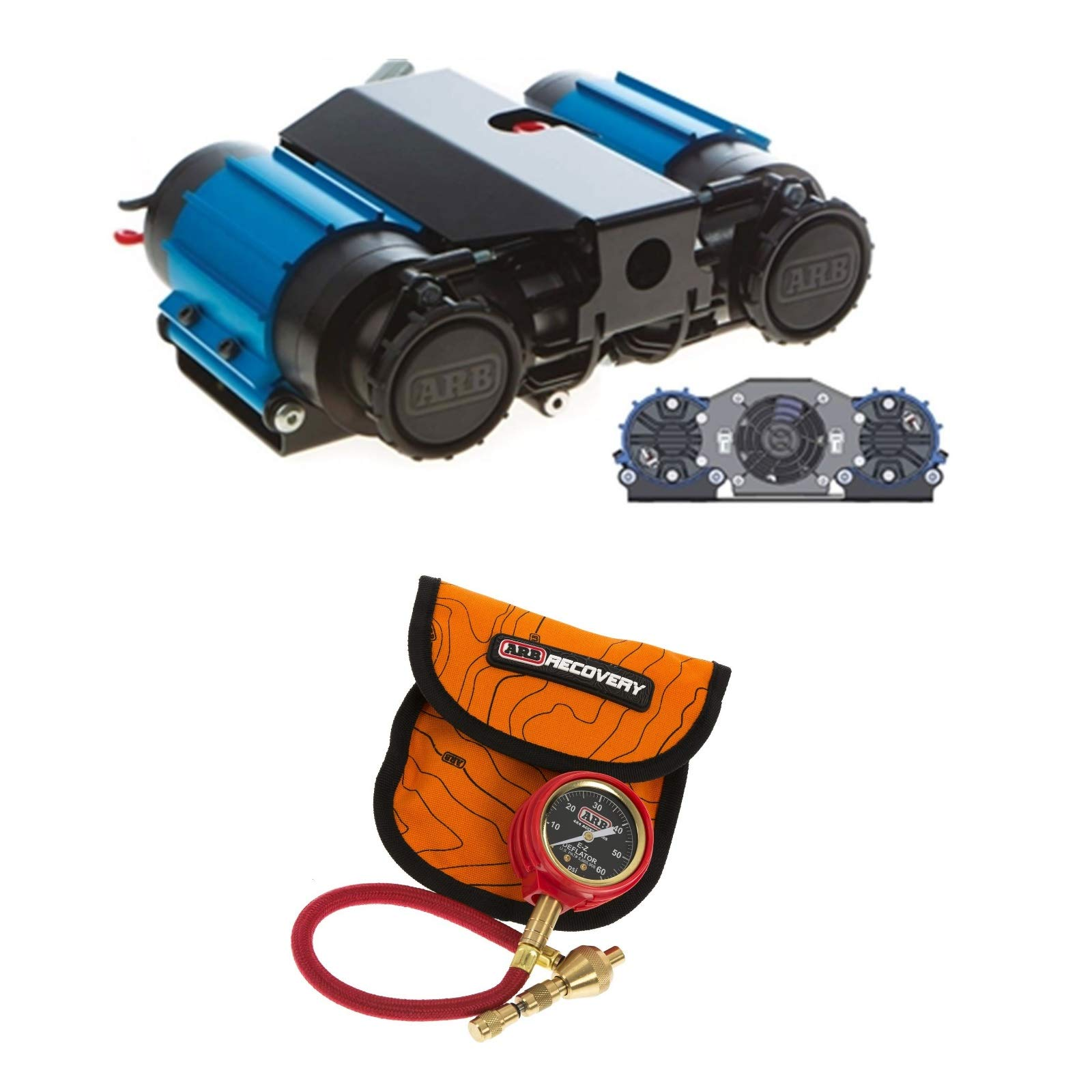 ARB CKMTA12/ARB505 On-Board Twin High Performance 12 Volt Air Compressor & E-Z Deflator Bundle