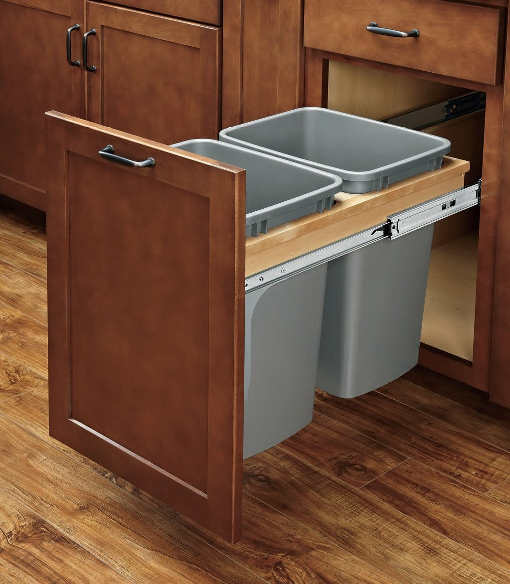 4WCTM-BBSC SERIES Soft-Close Wood Top Mount Waste Container (Individual Pack) Double 27 qt. Soft-Close Top Mount HandyCT