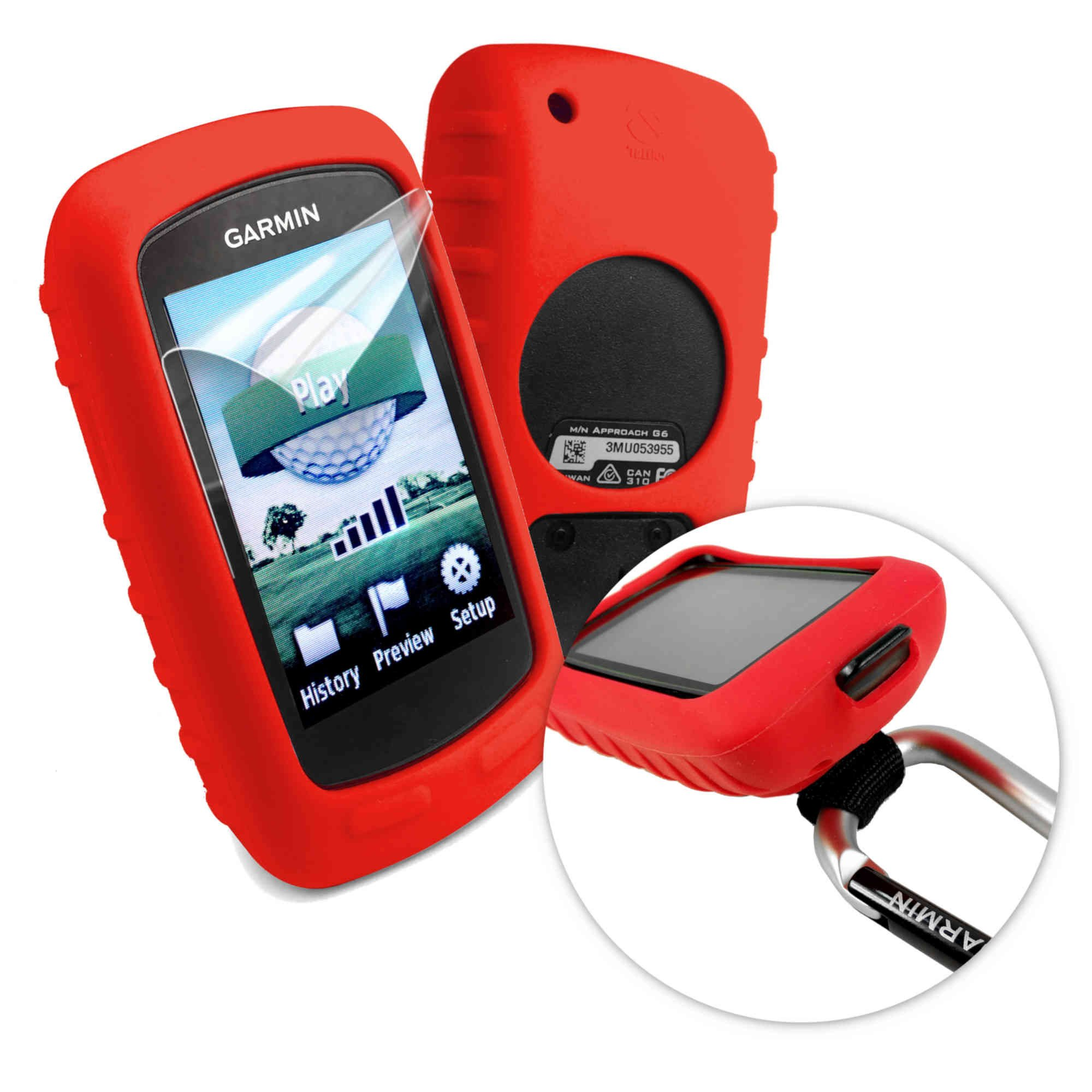 Tuff-luv Silicone Gel Skin Case & Screen Cover for Garmin Golf Approach G6/G7 - Red