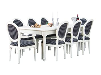 11tlg Essgruppe Baroque Table Salle A Manger Extensible Massif