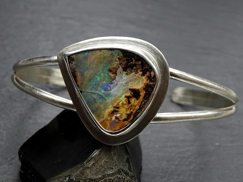 rainbow cuff copper jewelry atw jewelry opal armreif chakra copper wire handmade boulder opal