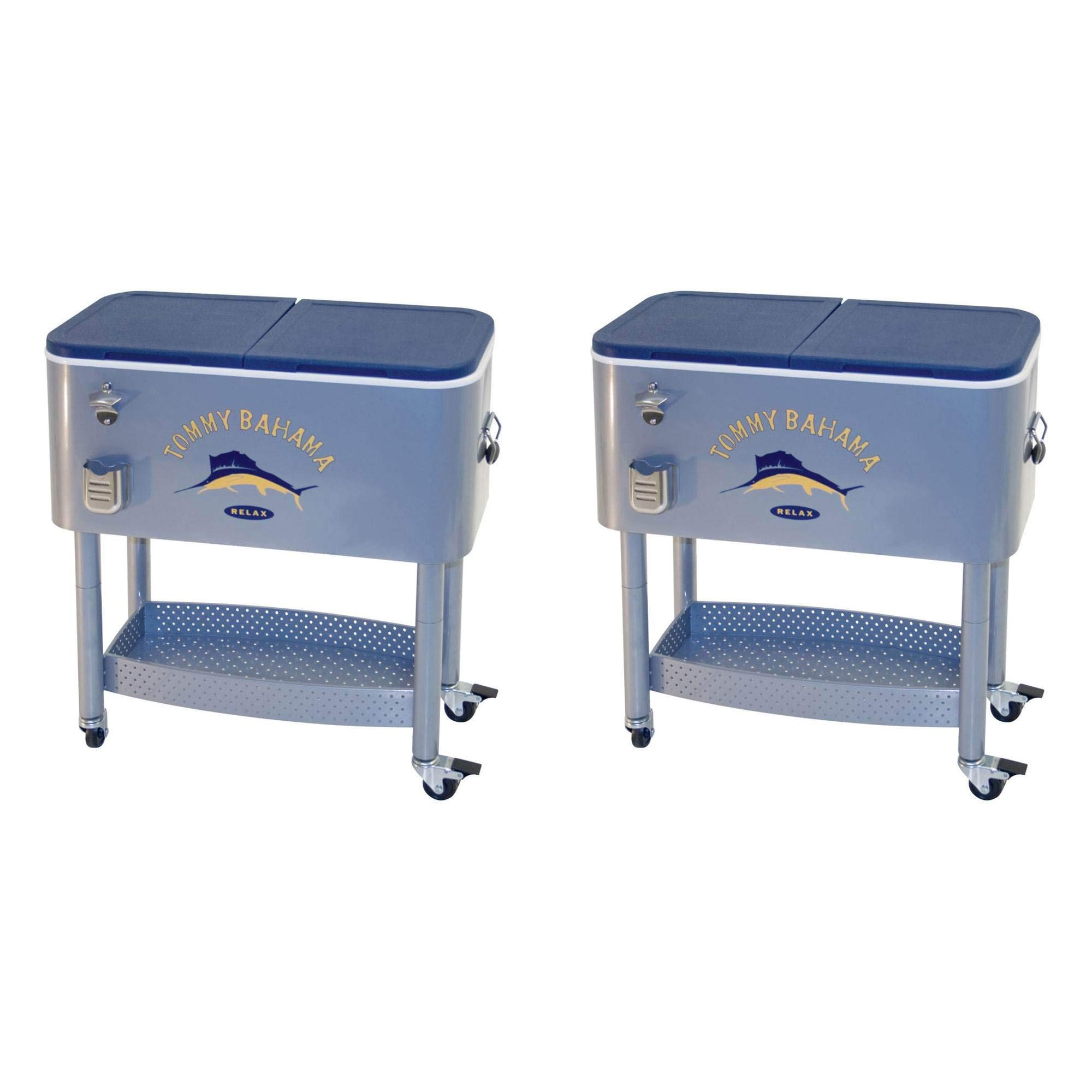 Tommy Bahama The Entertainer 77 Qt Rolling Portable Patio Party Cooler (2 Pack) by Tommy Bahama