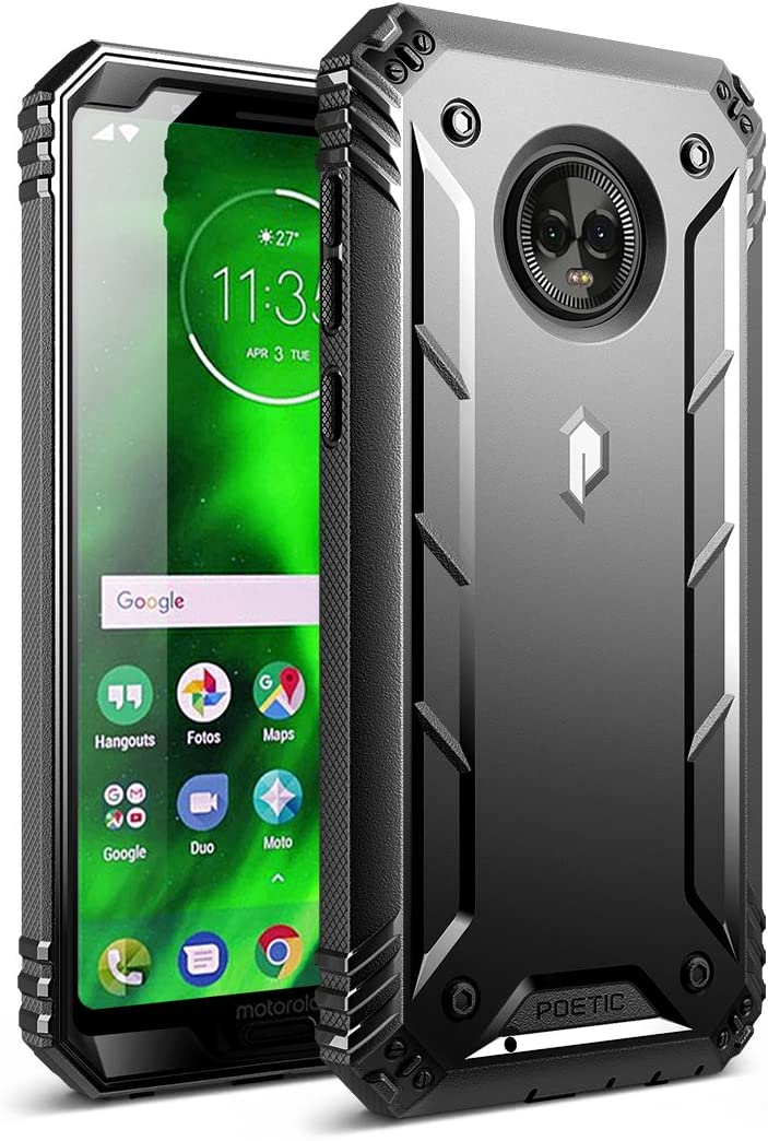 Moto G6 Rugged Case, Poetic Revolution [360 Degree Protection] Full-Body Rugged Heavy Duty Case with [Built-in-Screen Protector] for Motorola Moto G6 Black