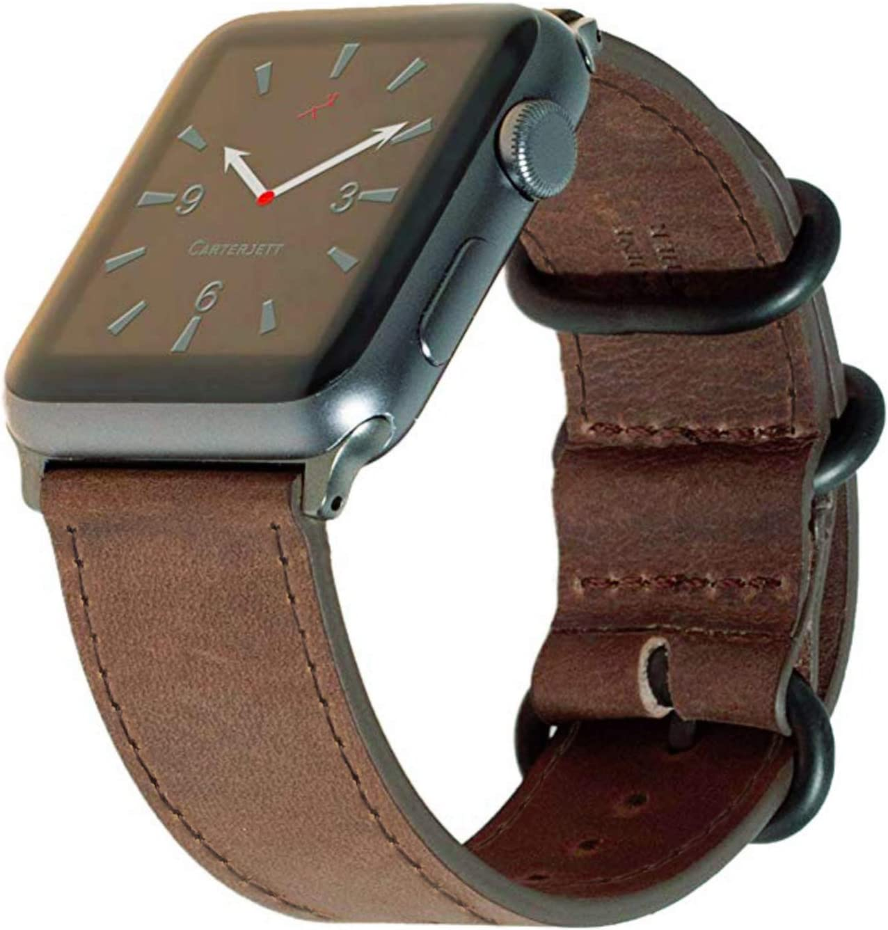 Carterjett Compatible for Apple Watch Band Leather 40mm 38mm Vintage Brown Replacement iWatch Bands Genuine Leather Retro Wrist Strap Military-Style Hardware Series 5 4 3 2 1 (38 40 S/M Brown)