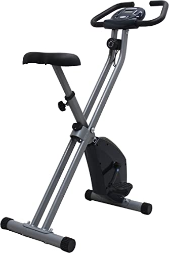 iLIVING USA Folding Upright The X-Bike with Calorie Counter, Grey