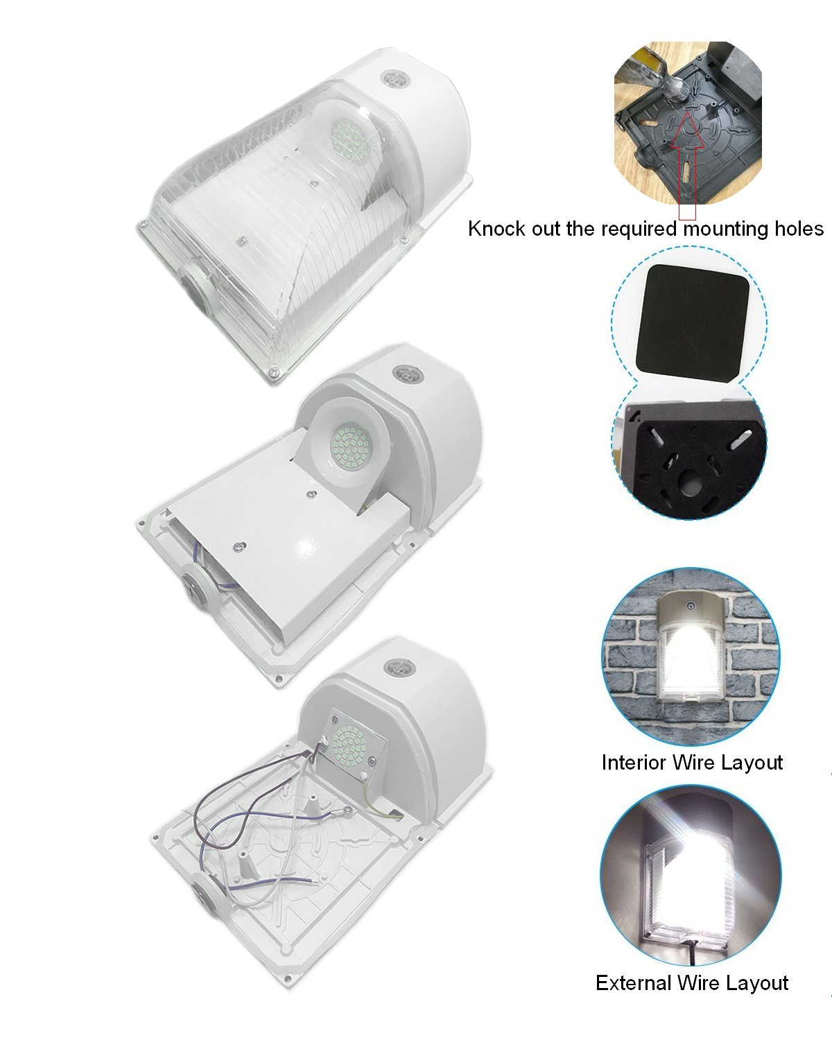 Wall Lights Tools Home Improvement Exterior Security Lighting Fixtures For Garage Garden Yard 2 Pack White 26w Led Wall Pack Light Dusk To Dawn Photocell Outdoor Wall Mount Light 3000lm 5000k Daylight