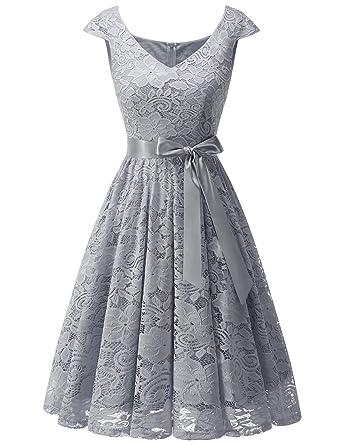 c767c54bd4c Meetjen Damen Elegant Spitzenkleid V-Ausschnitt festliches Cocktailkleid  Abendkleider  Amazon.de  Bekleidung