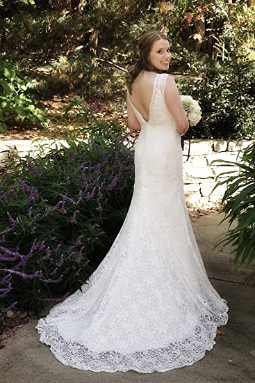 Amazon.com : All Over Beaded Lace Trumpet Wedding Gown with Bustle ...
