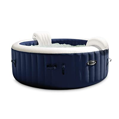 Intex 28429E PureSpa Plus 6.4 Foot Diameter 4 Person Portable Inflatable Hot Tub Spa with 140 Bubble Jets and Built in Heater Pump, Blue : Garden & Outdoor