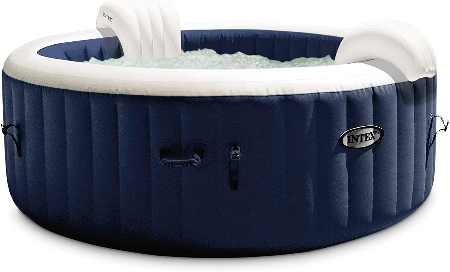 Intex 28429E PureSpa Plus 4 Person Portable Inflatable Hot Tub Spa with 140 Bubble Jets and Built in Heater Pump, Navy