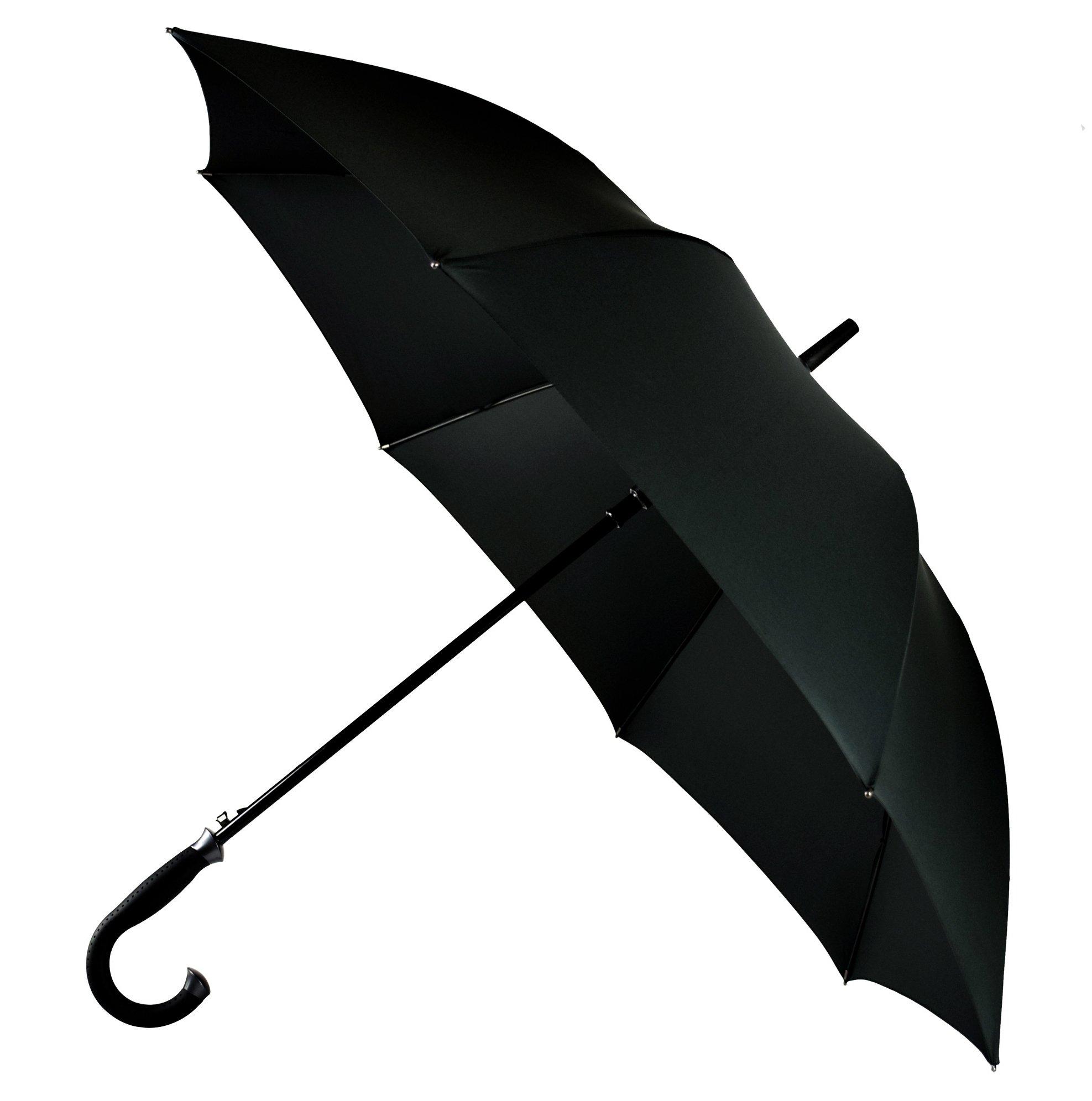 LifeTek Kingston 54 Inch Cane Umbrella Automatic Open Extra Large Full Size Windproof Frame 210T Microfiber Fabric with Teflon Rain Repellant Protection Stick Umbrellas Black by LifeTek
