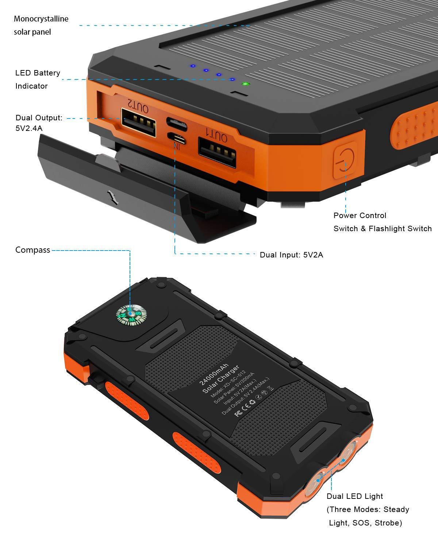 Amazon.com: Cargador solar X-DRAGON 24000mAh impermeable ...