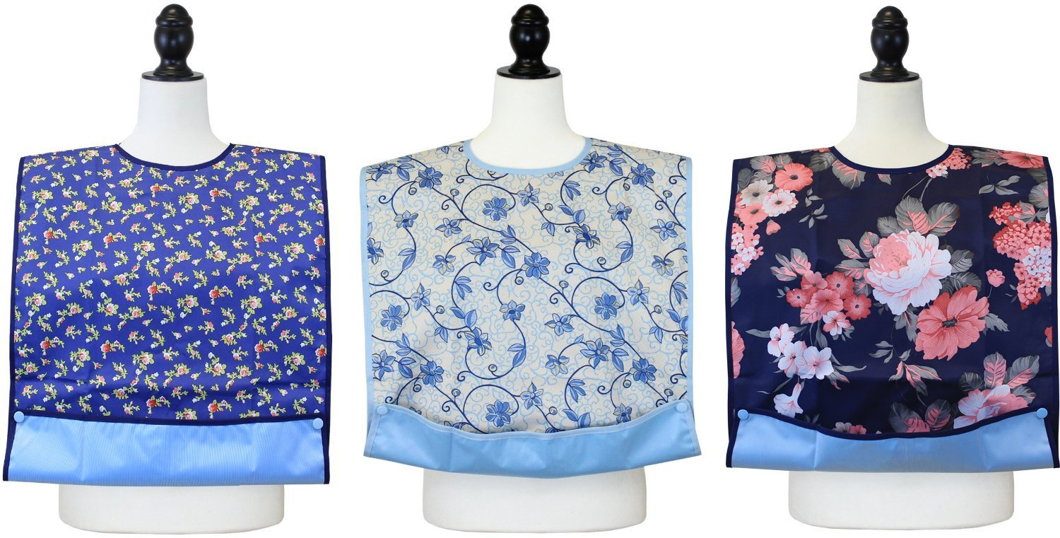 Amazon.com: Senior Adult Bib / Clothing Protector for Adults with  Waterproof Vinyl Backing & Optional Crumb Catcher - 3 Pack - Big Roses,  Blue Flower Print, ...