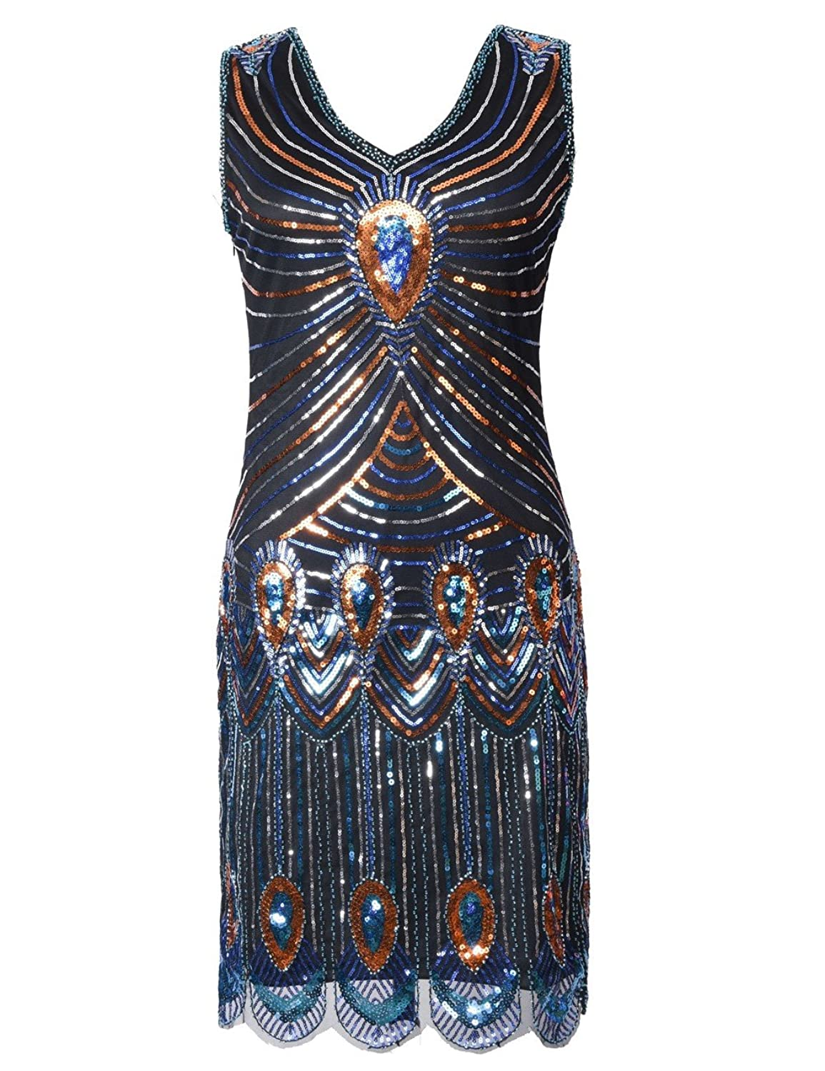 KAYAMIYA Women's 1920s Beaded Peacock Pattern Sequin Fringe Gatsby Flapper Dress