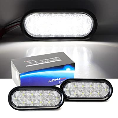 iJDMTOY Clear Lens White LED Reverse Fog Lights Kit Universal Fit Compatible With Truck Trailer RV: (2) 6.5-Inch Surface Mount Oval Shape Xenon White Lamps w/Grommets & Pigtail Plugs: Automotive