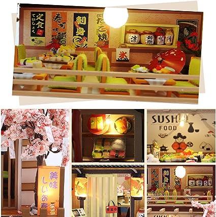 September-Europe DIY 1:24 handmontierter japanischer Stil Sushi Shop Miniatur Holz kreatives Puppenhaus DIY Kit zusammengebaut f/ür Geburtstag Geschenk mit LED-Leuchten