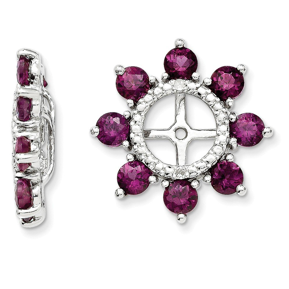 Sterling Silver Rhodium Diamond & Rhodolite Garnet Earring Jacket