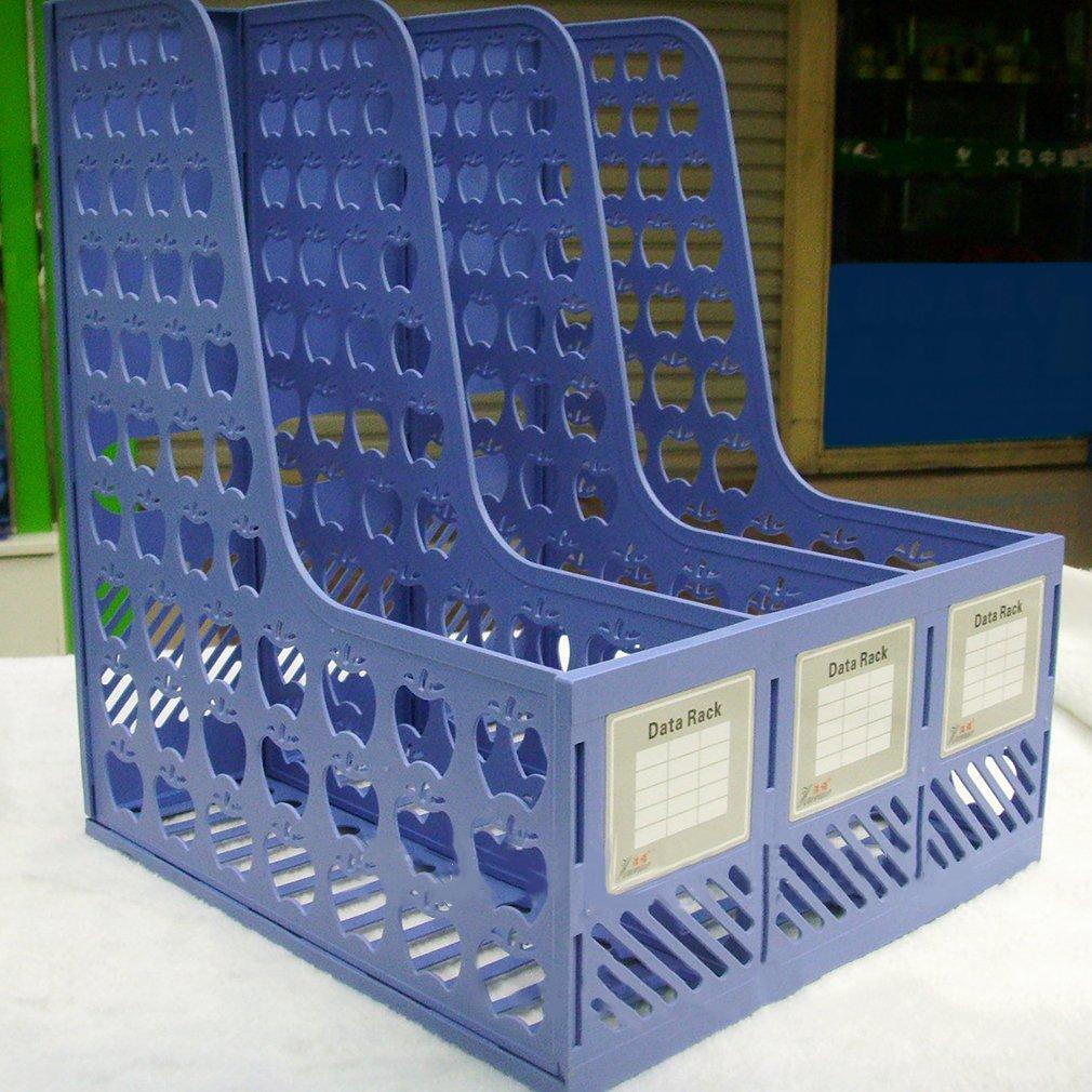 F/ür die Schule B/üro Organizer Office Schreibtisch Briefablage f/ür Zuhause B/üro Arbeitszimmer Chriskopher Classic 3 F/ächer Stehsammler aus Kunststoff Blau