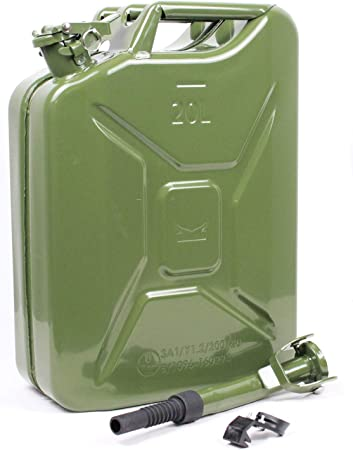 Ausgießer mit Halter Oliv Hammerschlag Metallkanister 20 Liter Benzinkanister
